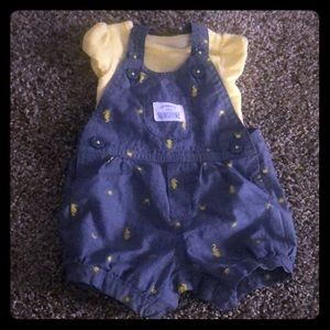 Just One You Newborn Overall Outfit Yellow